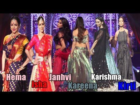 Karishma Kapoor, Kareena Kapoor Janhvi Kapoor, Khushi, Hema, Isha & Kirti  On Ramp Walk LFW