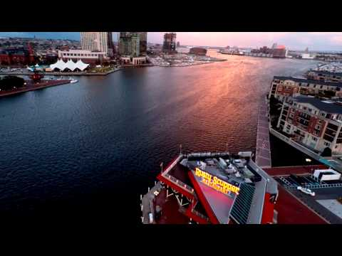 Baltimore Inner Harbor from Federal Hill Aerial Drone Video