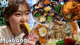 Outdoor Mukbang | Eating grilled Samgyeopsal and fried rice in a restaurant of retro atmosphere.