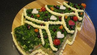 Новогодний салат. Салат из курицы с фасолью.