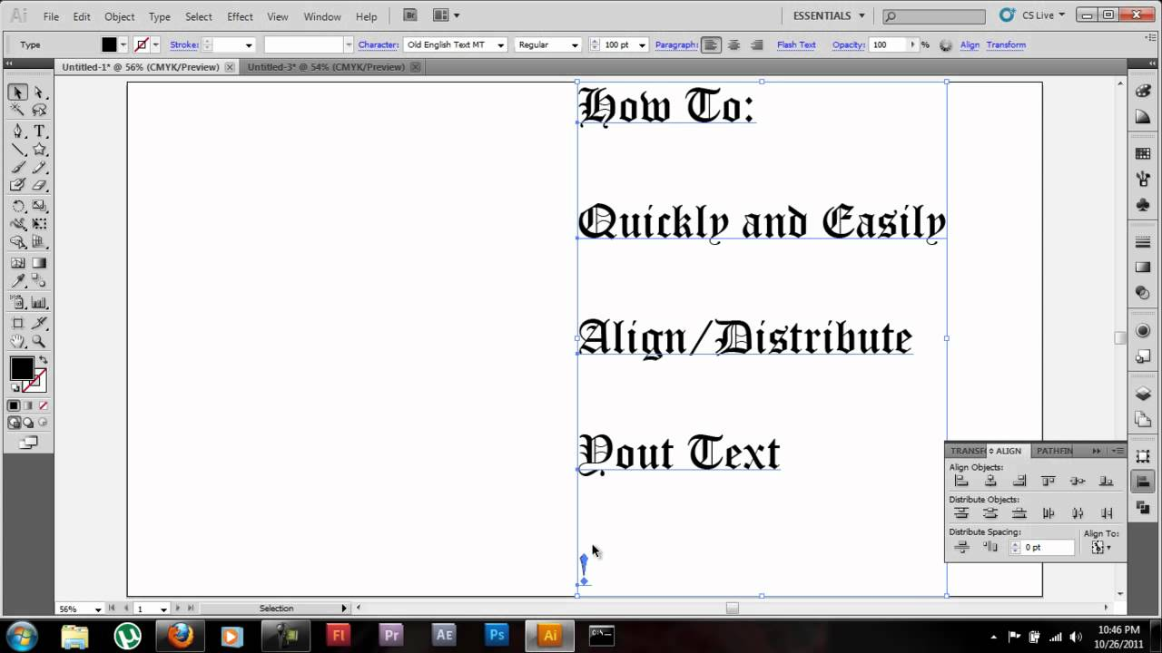 Adobe illustrator cs5 tutorial align distribute textobjects in adobe illustrator cs5 tutorial align distribute textobjects in depth ccuart Image collections