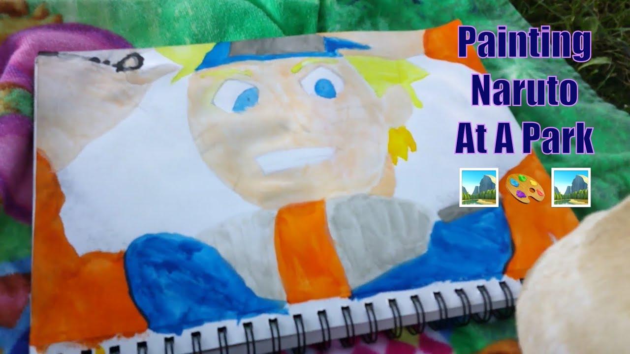 (Watercolor) Painting Naruto Uzumaki, IN A PARK!! 🎨🎨🖌🖌