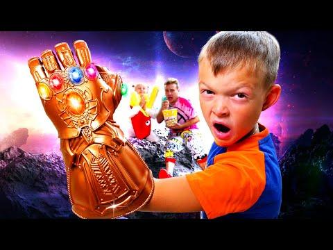 Игры онлайн - Перчатка Бесконечности в нашем мире! Что делать Супер Деткам? – Видео с супергероями.