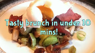 quick healthy brunch in under 10 minutes poached egg crispy bacon and veggies