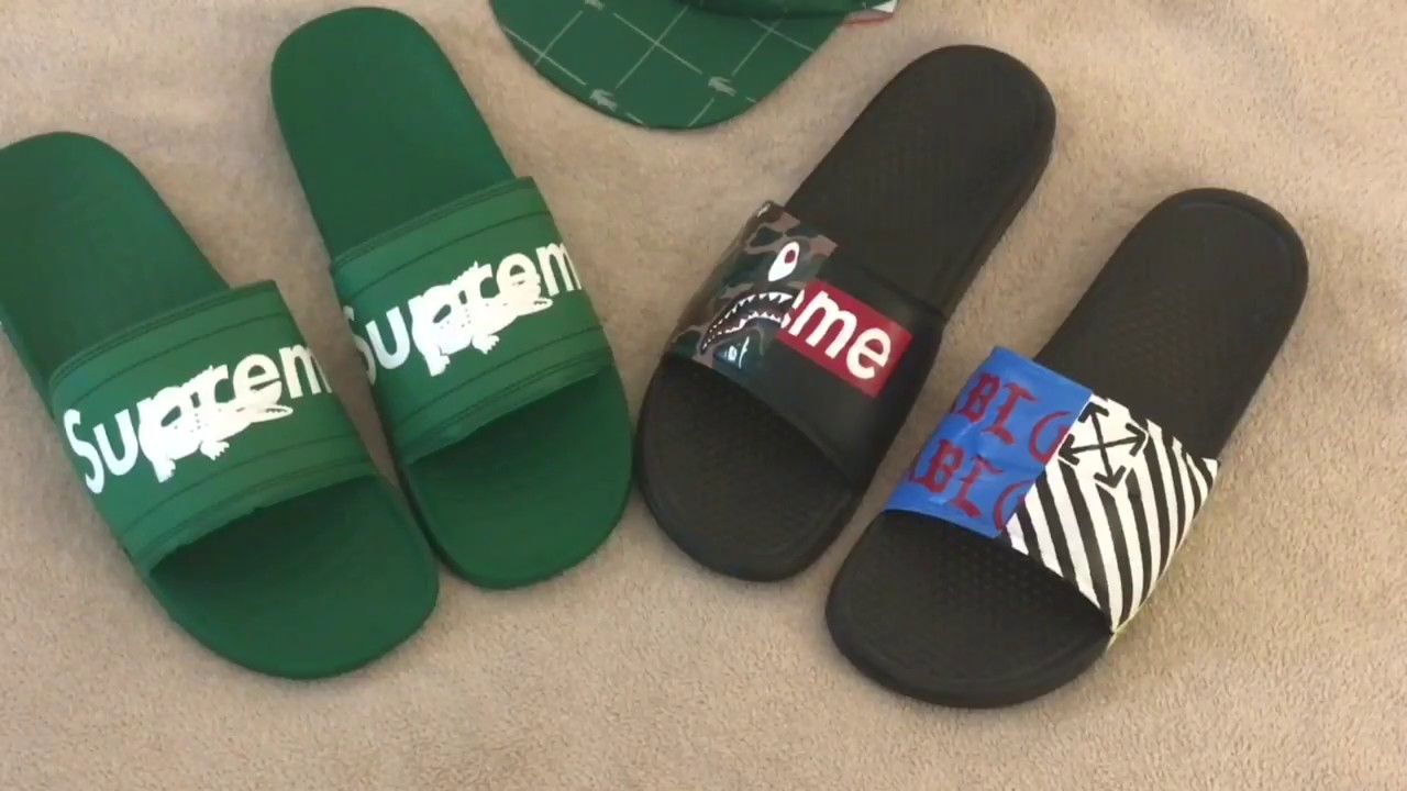 bf68eac1b Hypebeast custom slides. Supreme x Lacoste collab. - YouTube