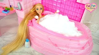 Barbie Doll Bubble Bath Shower Time! Barbie Puppe Schaumbad Duschzeit boneka Barbie Waktunya mandi