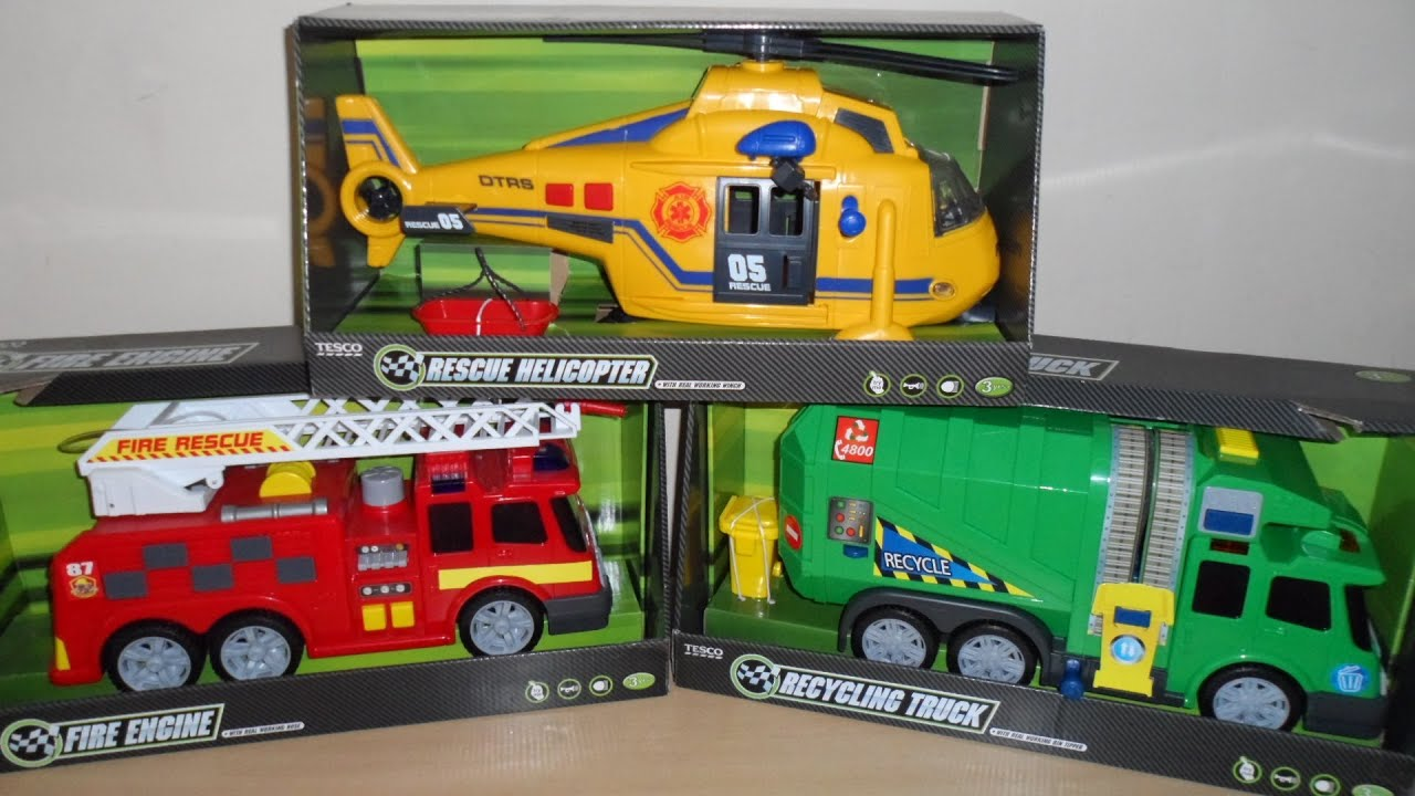 Top 3 Mini Boys Toys Dickie Fire Engine Helicopter And Recycling