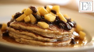 Apple Cider Pancakes With Spiced Apple Raisin Syrup