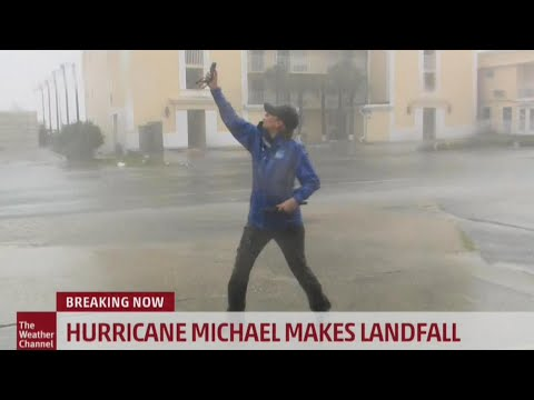 Reporters in Florida Struggle to Stand as Hurricane Michael Pounds Area