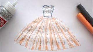 👗 wie zeichnet man ein Prinzessinen Kleid - How to draw a princess dress drawing - рисовать платье