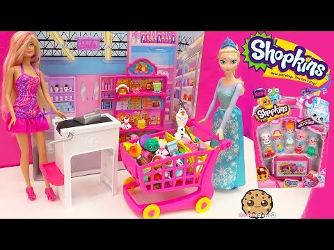 Unboxing Season 4 Shopkins 12 Pack In Disney Frozen Queen Elsa Shopping Cart - Toy Video