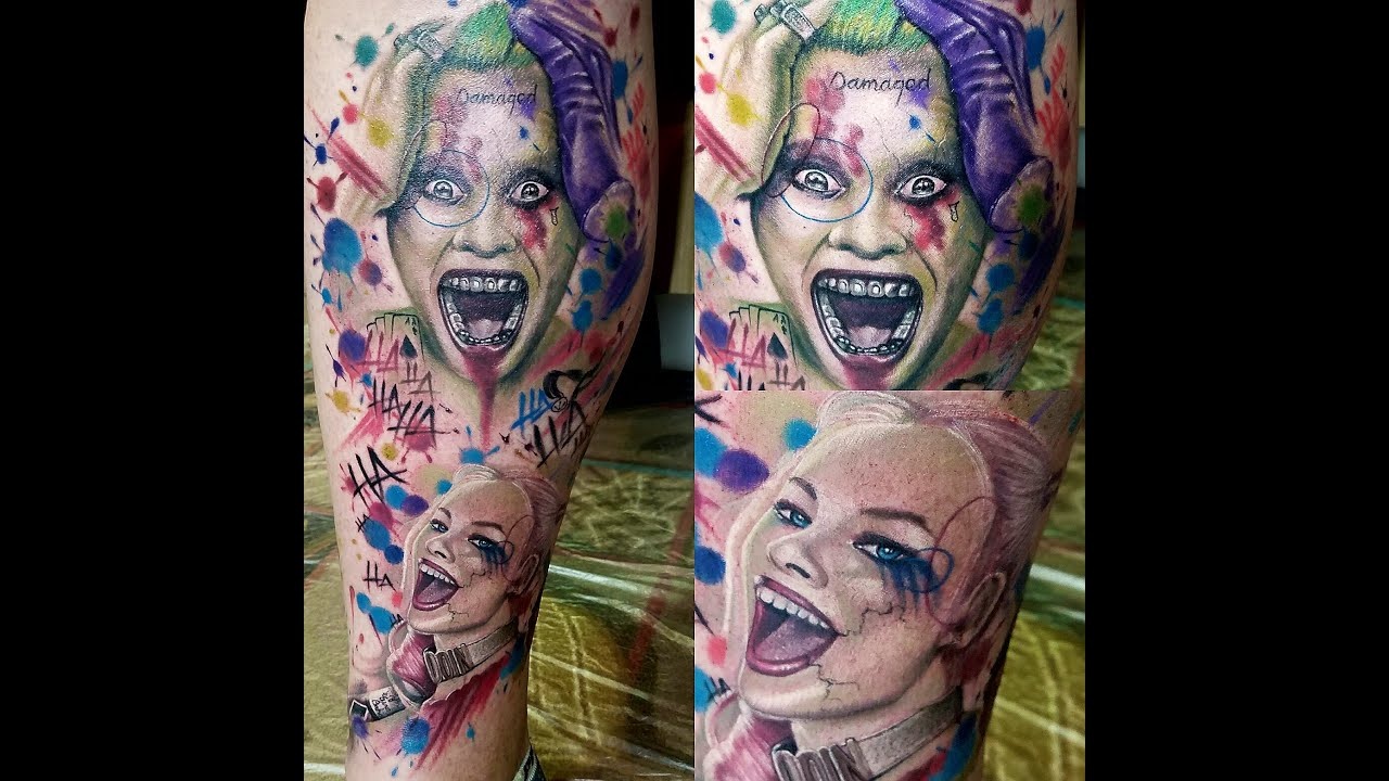 Matching Joker And Harley Tattoo: Tattoo Time-lapse Joker/Harley Quinn Suicide Squad By