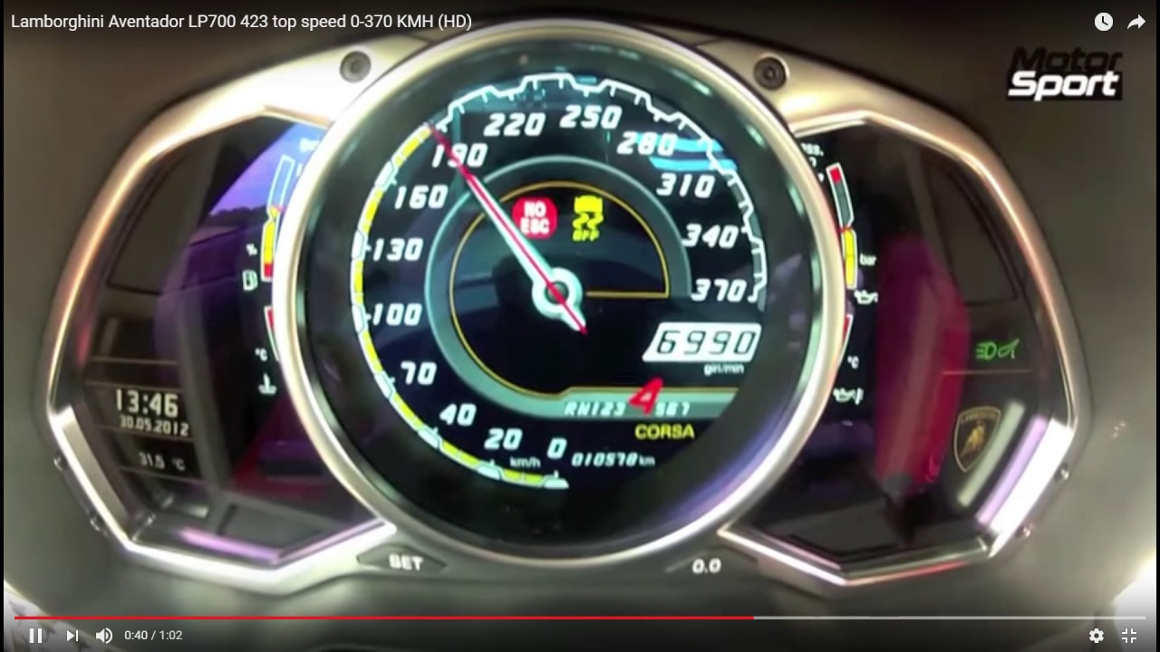 Lamborghini Aventador LP700-4 top speed - YouTube