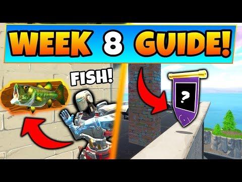 Fortnite WEEK 8 CHALLENGES GUIDE! - FISH TROPHY Locations, Secret Banner (Battle Royale Season 6)
