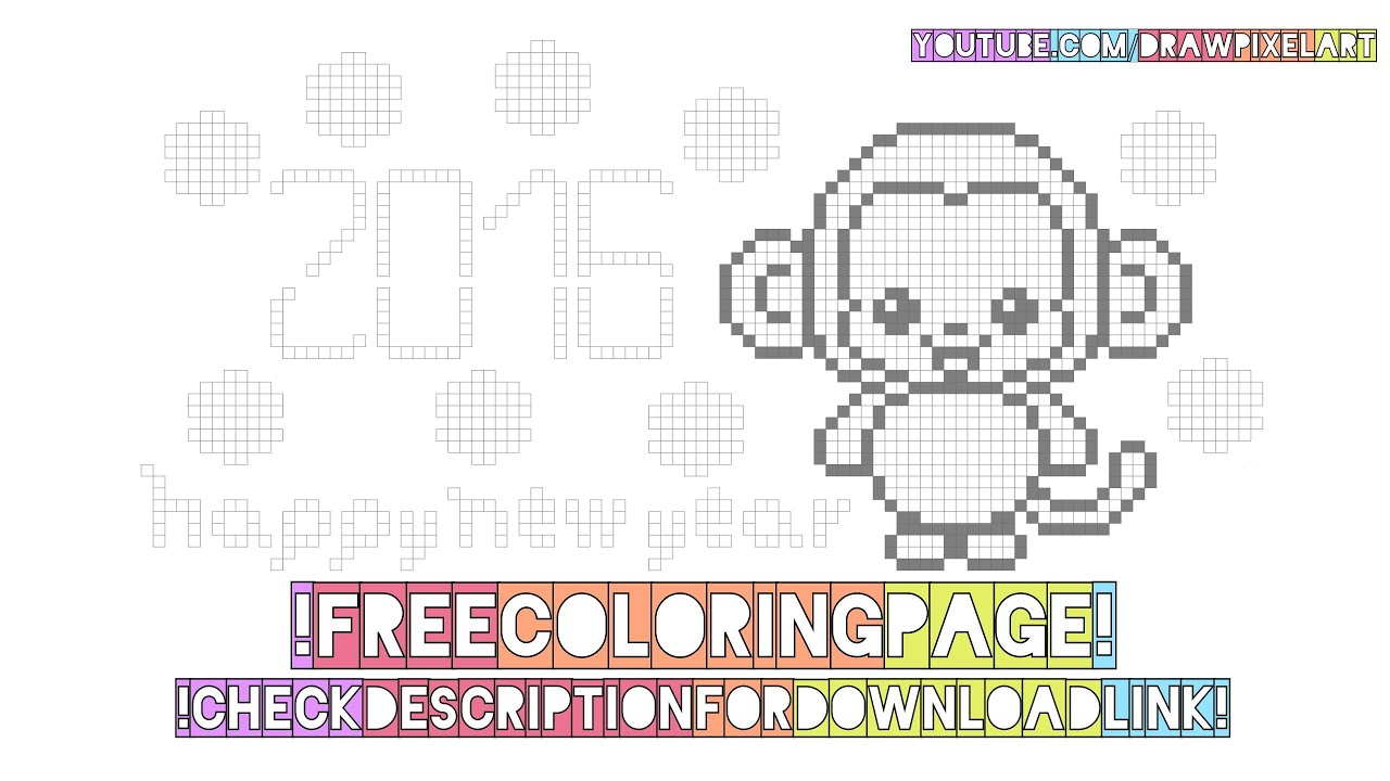 free coloring page cute kawaii monkey happy new year pixel art