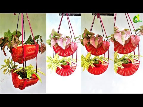 how to make your own hanging basket/new method /hanging planter ideas/ORGANIC GARDEN