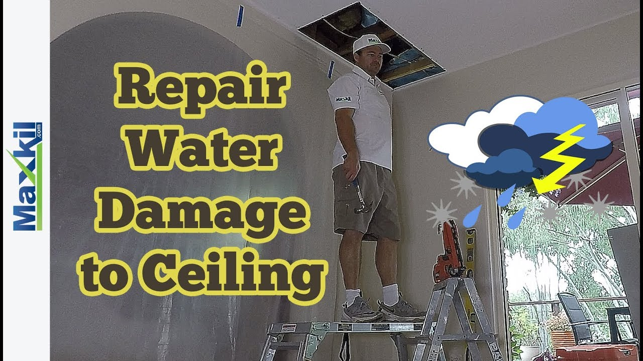 how to fix water damaged drywall ceiling