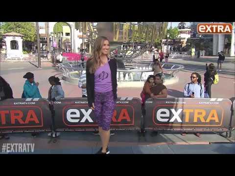 Emily Weprich modeling Dayna Devon's Fitness Wear on EXTRA TV