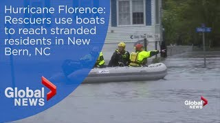 Hurricane Florence: Rescuers use boats to reach stranded residents in New Bern, NC