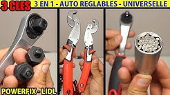 3 clés LIDL POWERFIX cliquet 3 en 1 - douille universelle - auto réglables