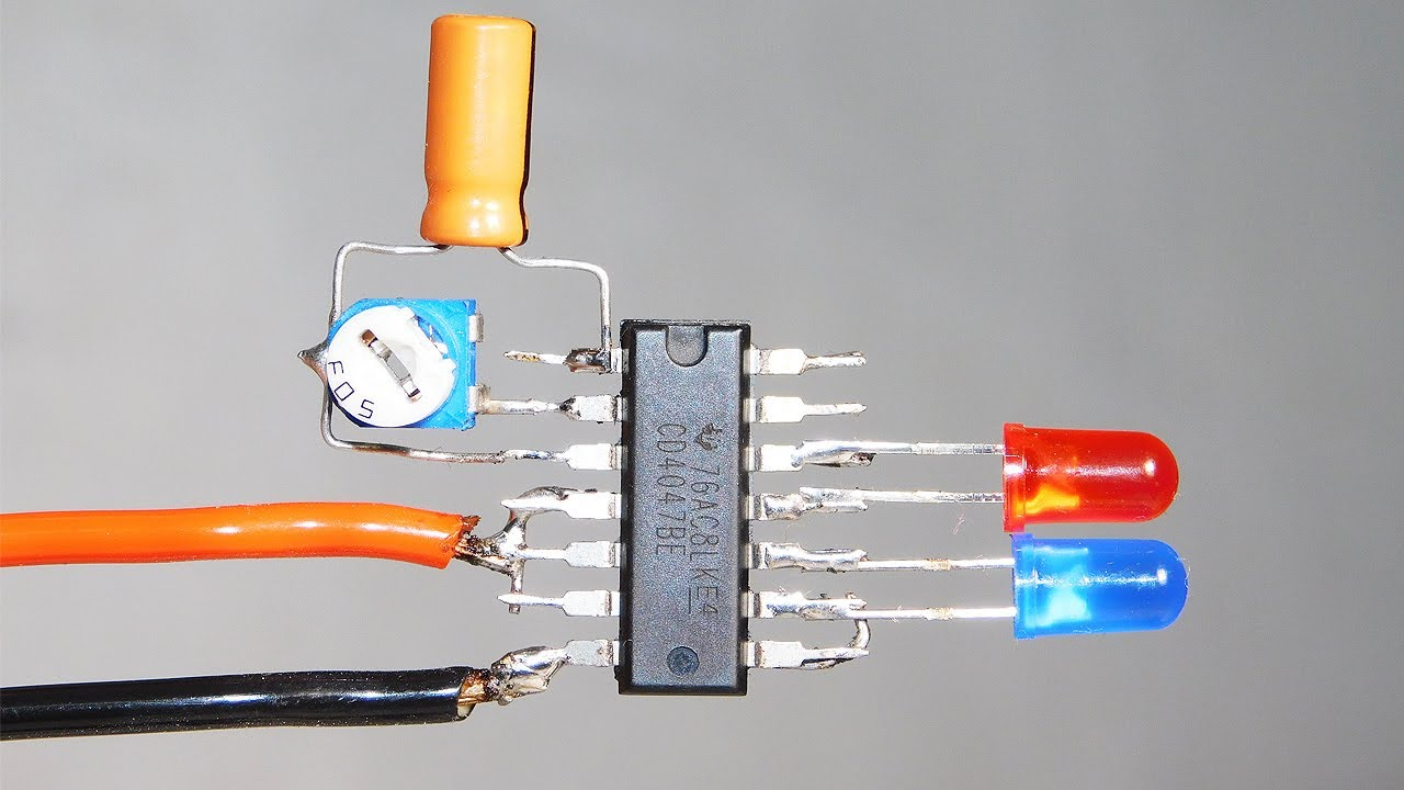 3.7v Superb  Effect Dual LED Flasher Circuit With CD4047 | With Speed Control