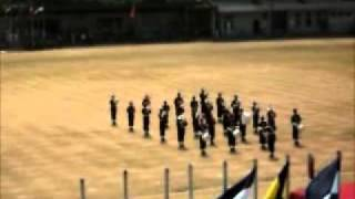 Dharmaraja College Western Band displaying a formation at the college sports meet 2011