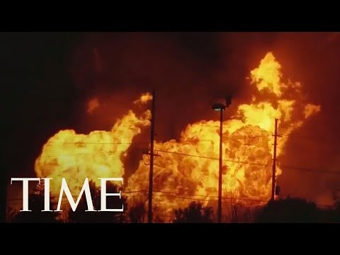 Download Youtube: Massive Gas Line Fire Near Detroit Causes Evacuations: Flames Shoot Dozens Of Feet High   TIME