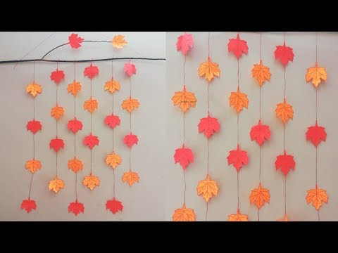 Paper Leaves Wall Decorations - Wall Hanging Craft Ideas - Easy Paper Crafts - DIY Leaves Decor