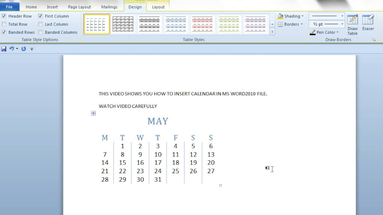 how to insert calendar in ms word2010 document