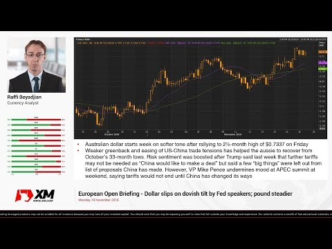 Forex News: 19/11/2018 - Dollar slips on dovish tilt by Fed speakers; pound steadier