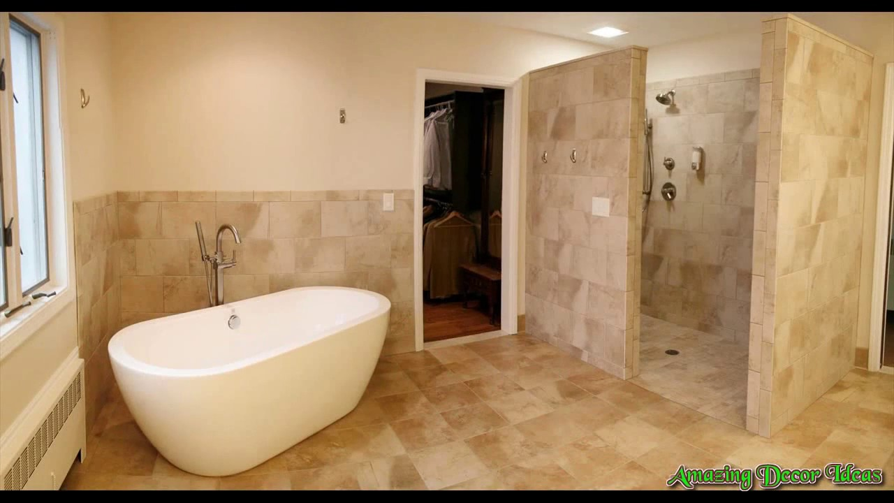 Open shower bathroom design youtube for Open shower bathroom