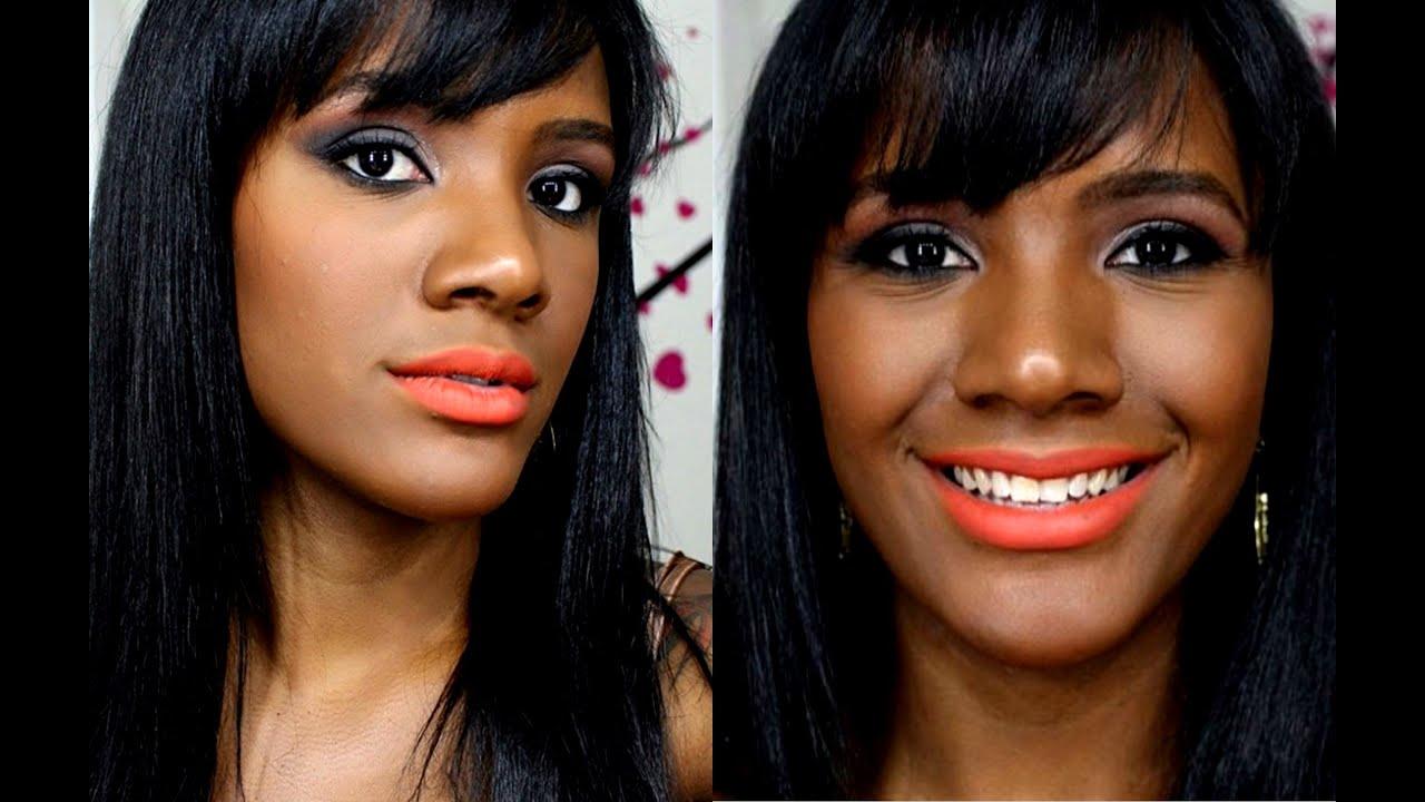 Muito Make com batom Laranja para a pele Negra - YouTube OC29