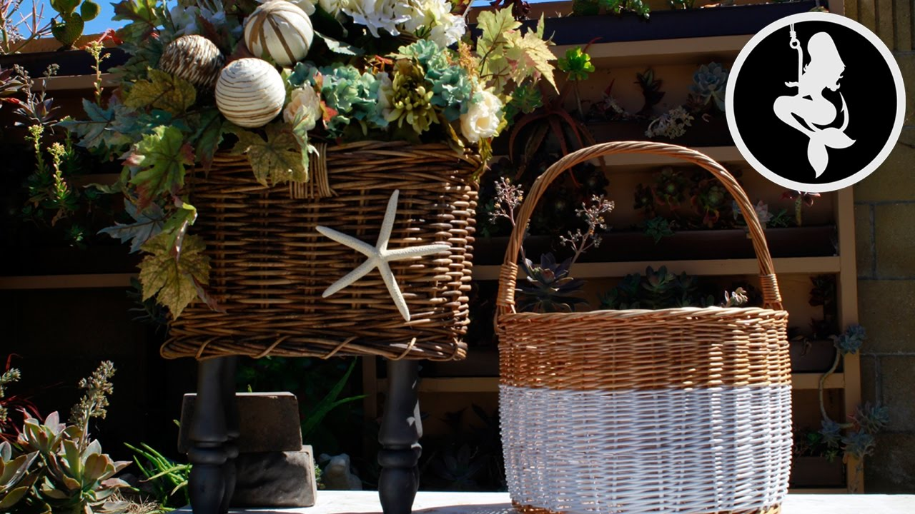 How To Paint And Decorate Wicker Baskets (Easy Basket Deco DIY ...