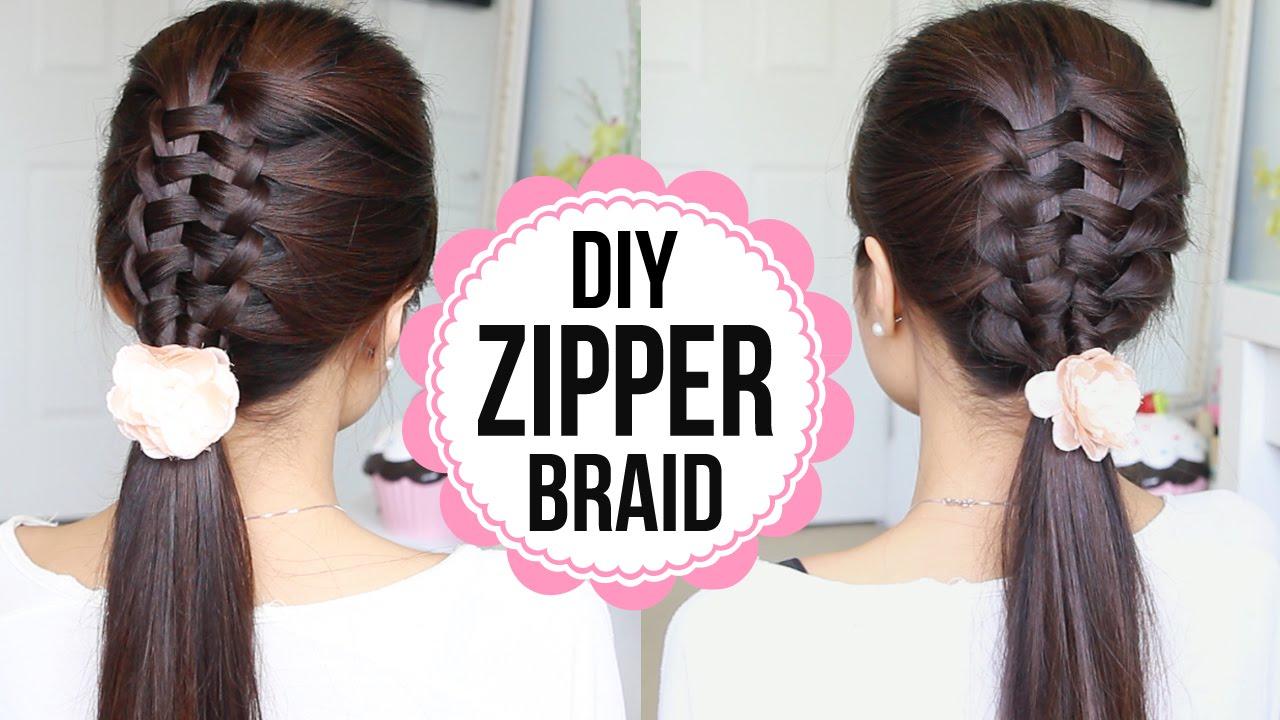 zipper braid hair tutorial 2 ways