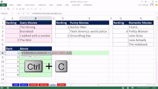 Excel Magic Trick 1102: VLOOKUP with Three Different Tables to Rank Movies, VLOOKUP & IFERROR