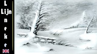 Very easy! How to draw a Snow Landscape in CHARCOAL