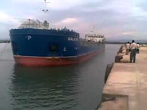 Tanker Vessel Along side Berthing at Karwar Port.mp4