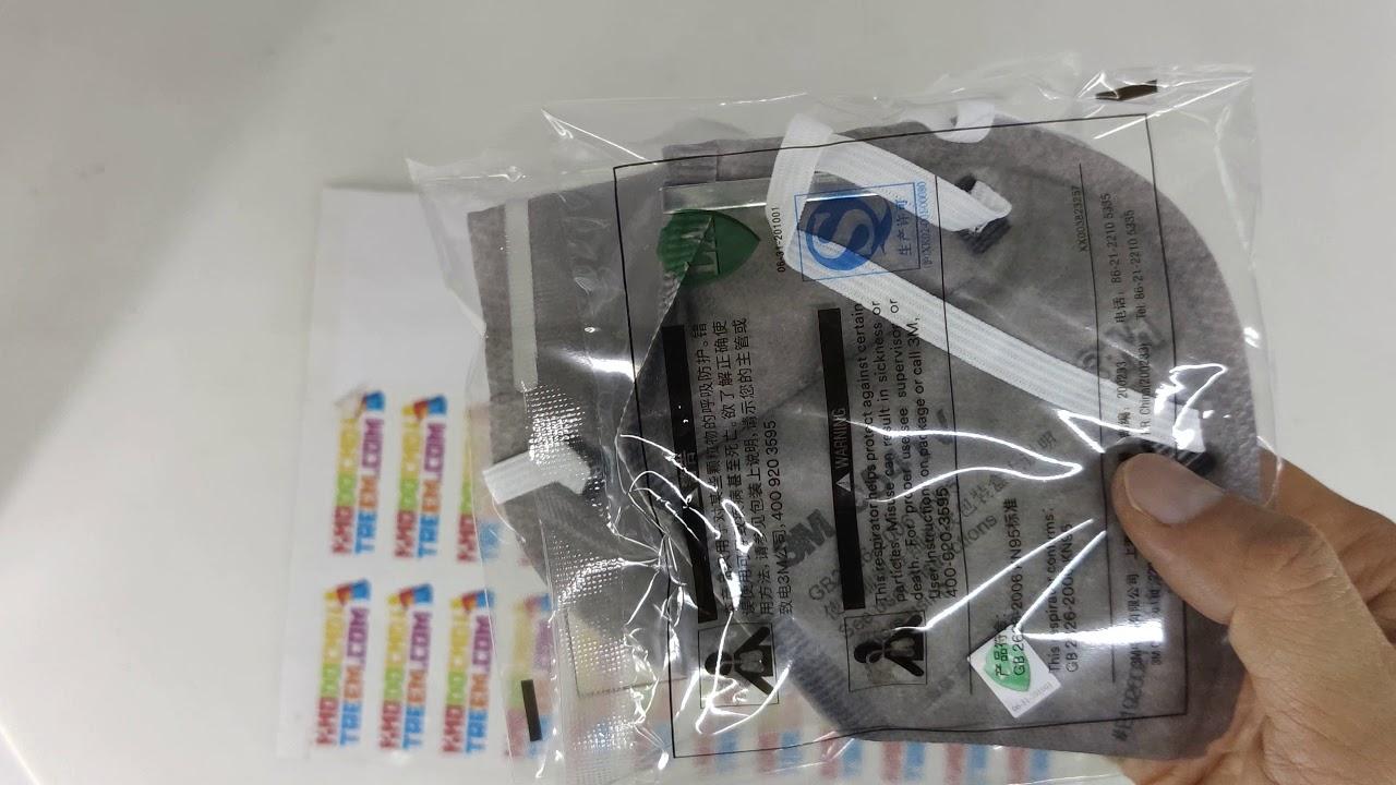 Khẩu trang 3M 9541V KN95 lọc 95% độc với than hoạt tính đệm mũi van thở chun vải mềm giá sốc rẻ nhất