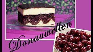 Donauwelle - Rührteig mit Puddingcreme, Kirschen und Schokoglasur (Danube Waves Cake)