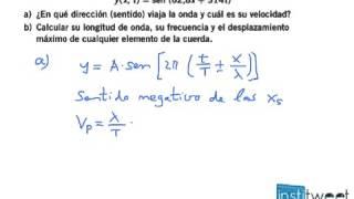 Calcula la longitud de onda, frecuencia y desplazamiento máximo de onda armónica transversal