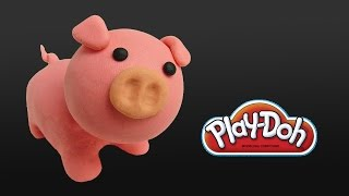 play doh cute pig - how to make with playdoh