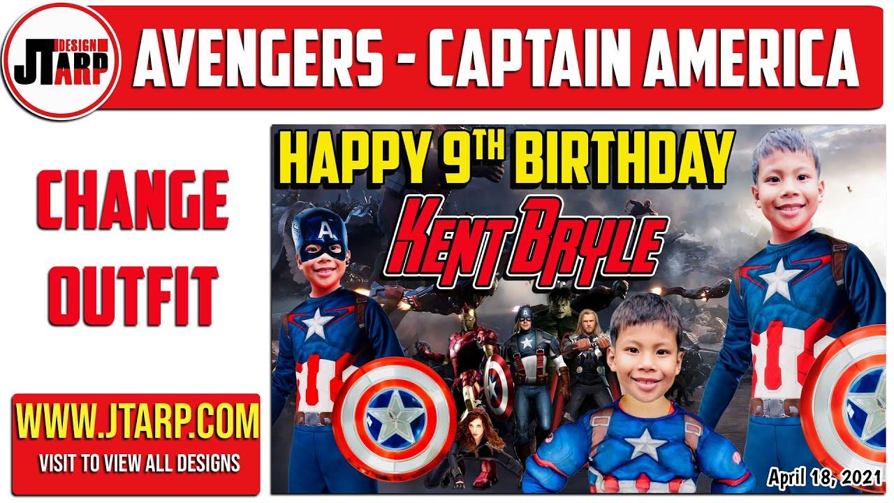 Avengers Captain America Birthday Tarpaulin Layout For Birthday Youtube