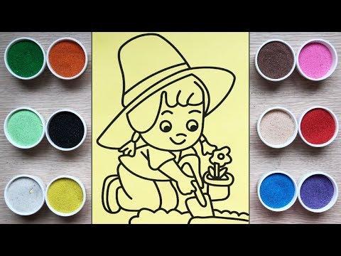 Đồ chơi trẻ em, tô màu tranh cát cô bé trồng hoa - Colored sand painting toys (Chim Xinh)