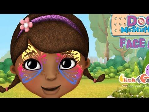 NEW Мультик онлайн для девочек—Доктор Плюшева рисунок на лице на фестиваль—Игры для детей