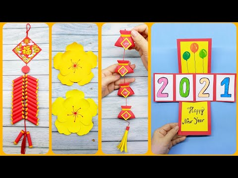 4 Cách làm đồ Trang Trí Tết – Làm dây Trang Trí Tết – Cắt bông Mai – Làm thiệp Tết | Liam Channel | làm đồ trang trí tết bằng giấy