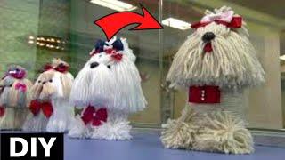 Como fazer Cachorrinho de lã no pote