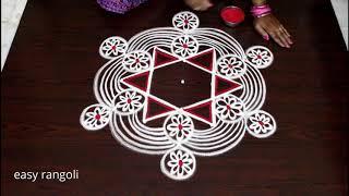 Latest muggulu with 5x3 dots || Simple kolam by easy rangoli Suneetha