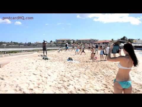 Jet blast on Maho Beach SXM (compilation)  HD 1080P