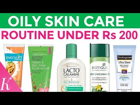 oily-skin-care-routine-under-rs.-200-|-face-cleanser,-toner,-serum,-scrub,-moisturizer,-sunscreen