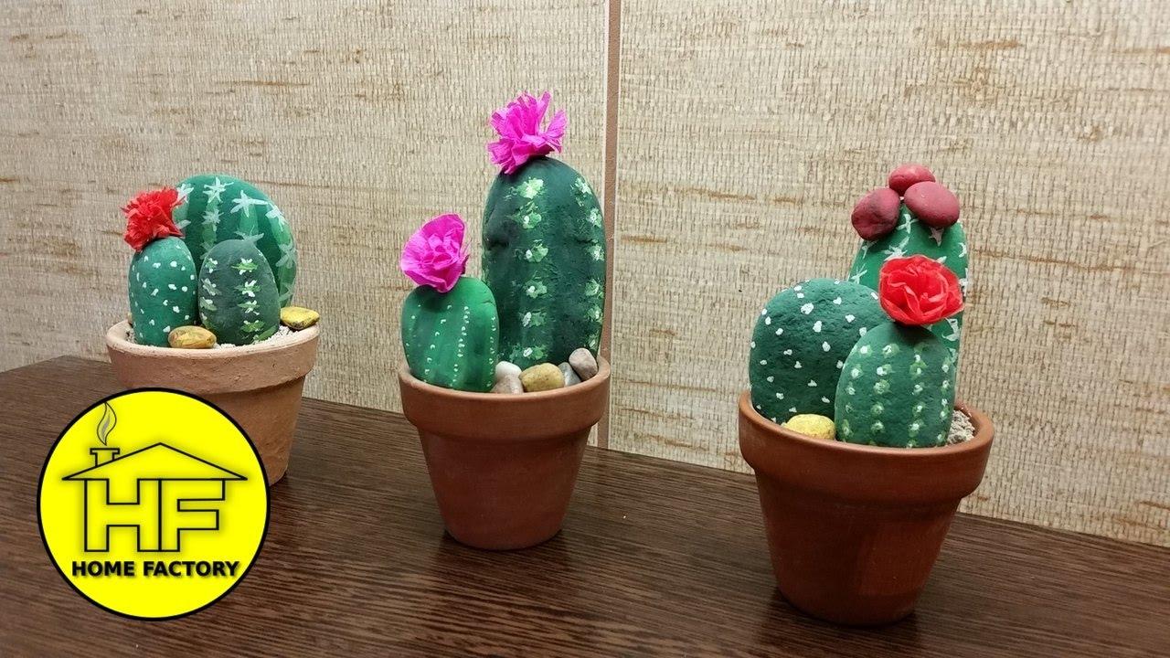 Fake Cactus Diy Rock Painting
